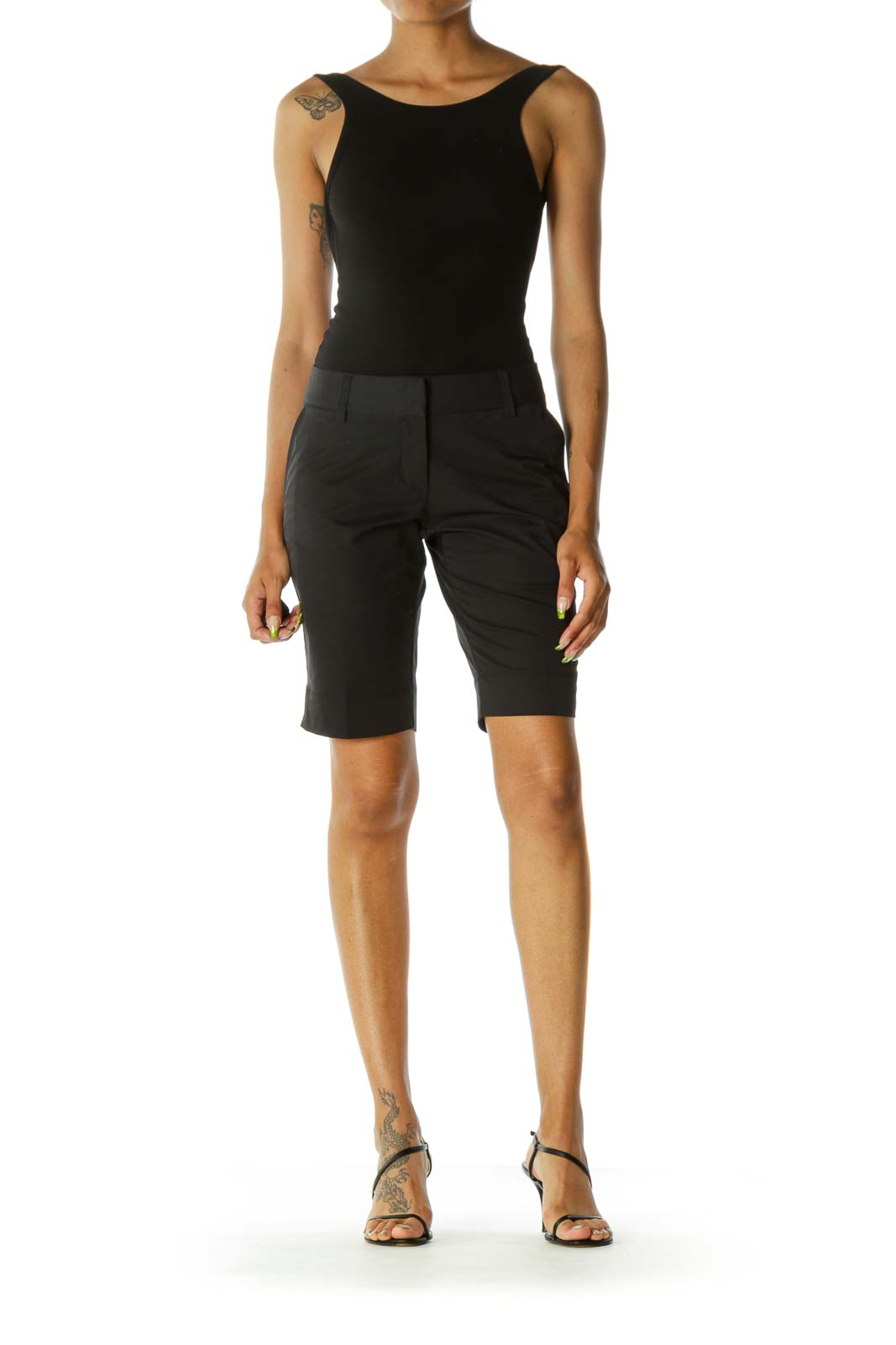 Black Pocketed Stretch Belt-Hoops Active Bermuda Shorts