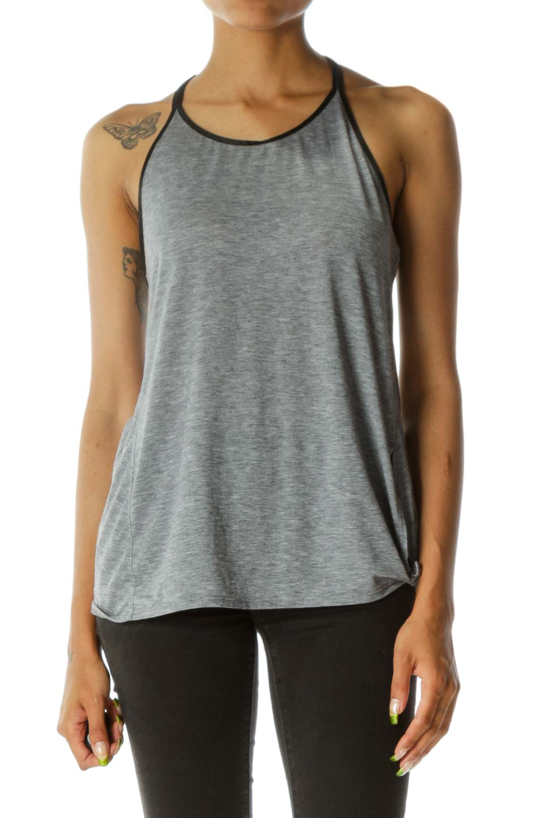 Gray Black Trim Round Neck Jersey-Knit Stretch Hip Knot Detail Active Top