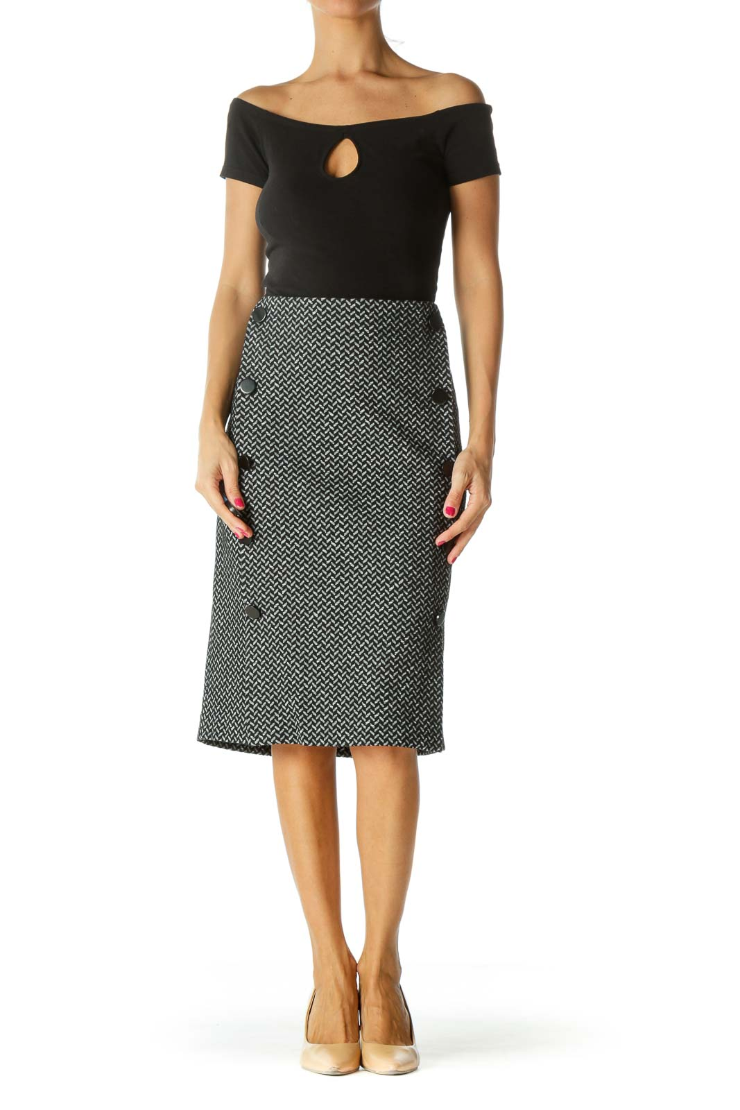 Black White Buttoned Zippered Textured Midi Skirt