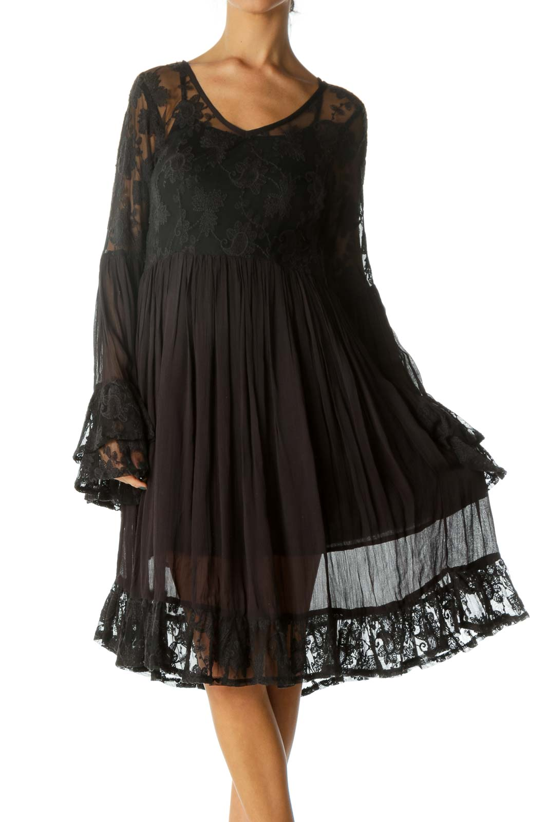 Black Lace Mesh Flared Sleeves Dress