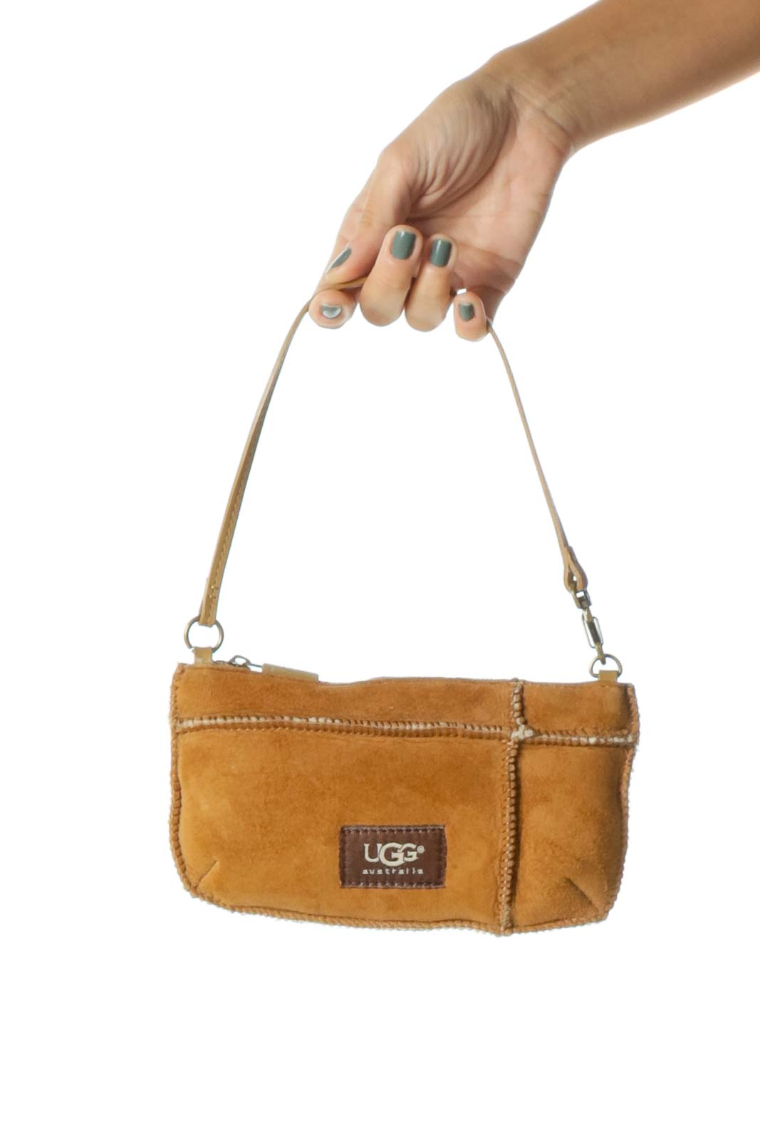 Brown Shearling Inside Adjustable Strap (Handle or Wristlet) Zippered Small Bag