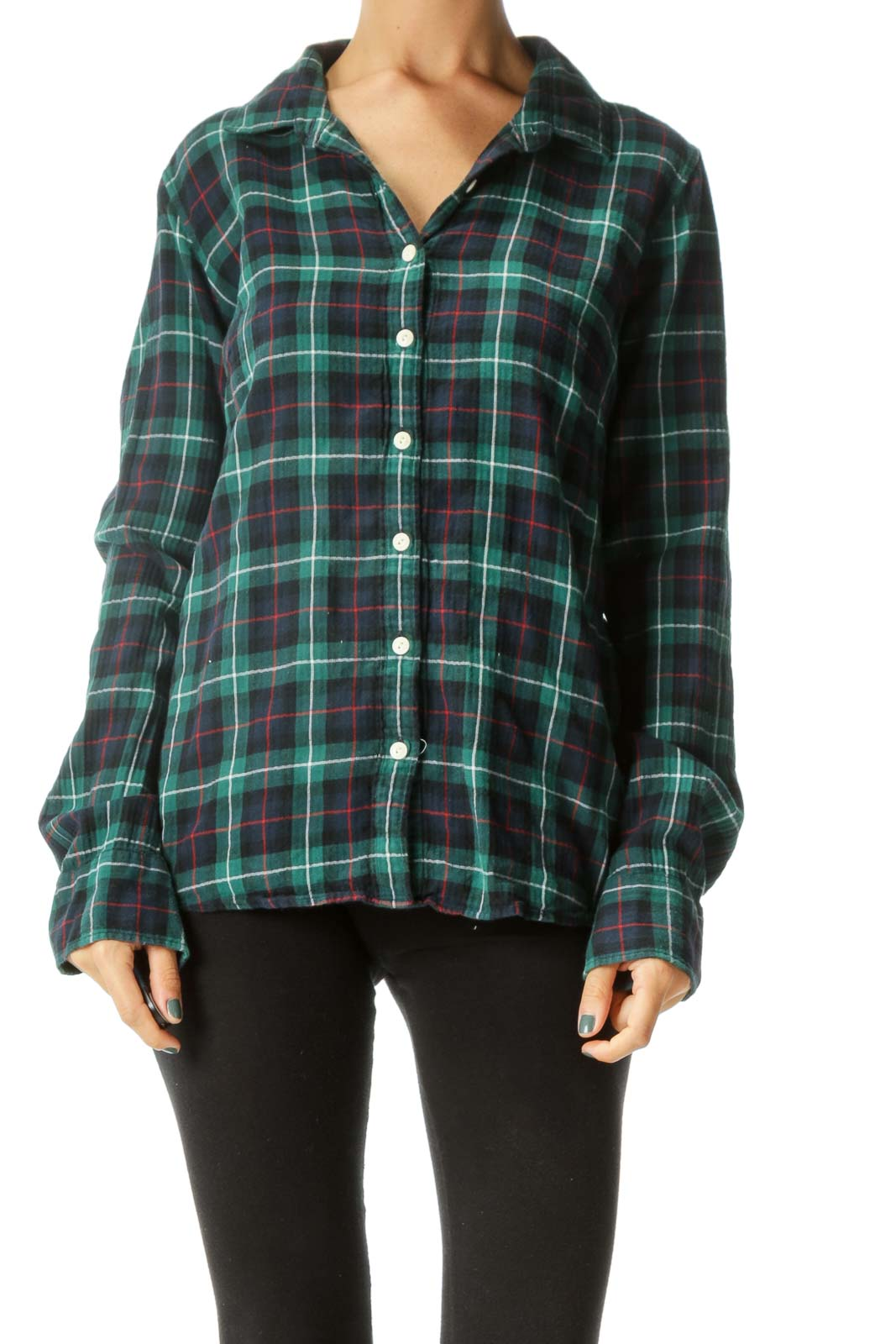Blue Green Red Plaid Buttoned Cotton Blend Shirt