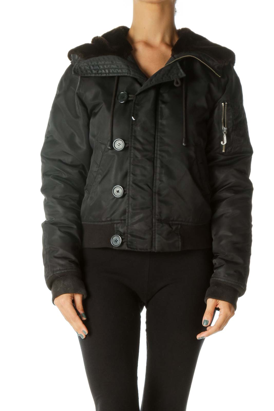 Black Convertible Hood Faux-Fur Padded Elastic Details Jacket