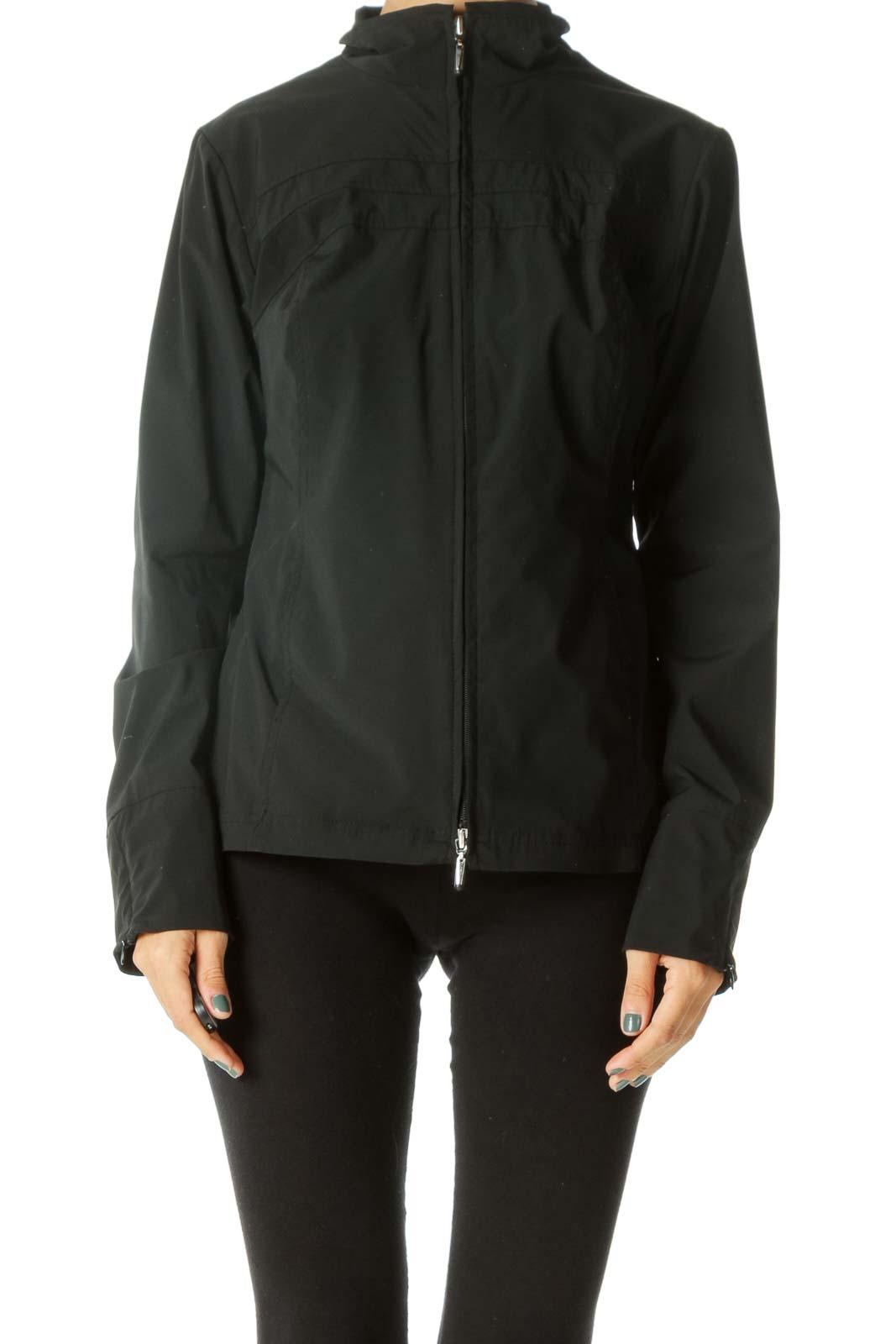 Black Zippered Sleeve Detail Pocketed Stretch Sport Jacket