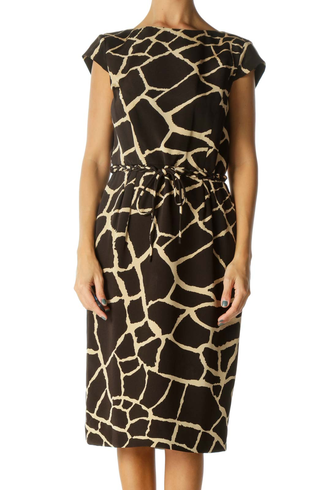 Brown and Cream Animal Print Sheath Dress