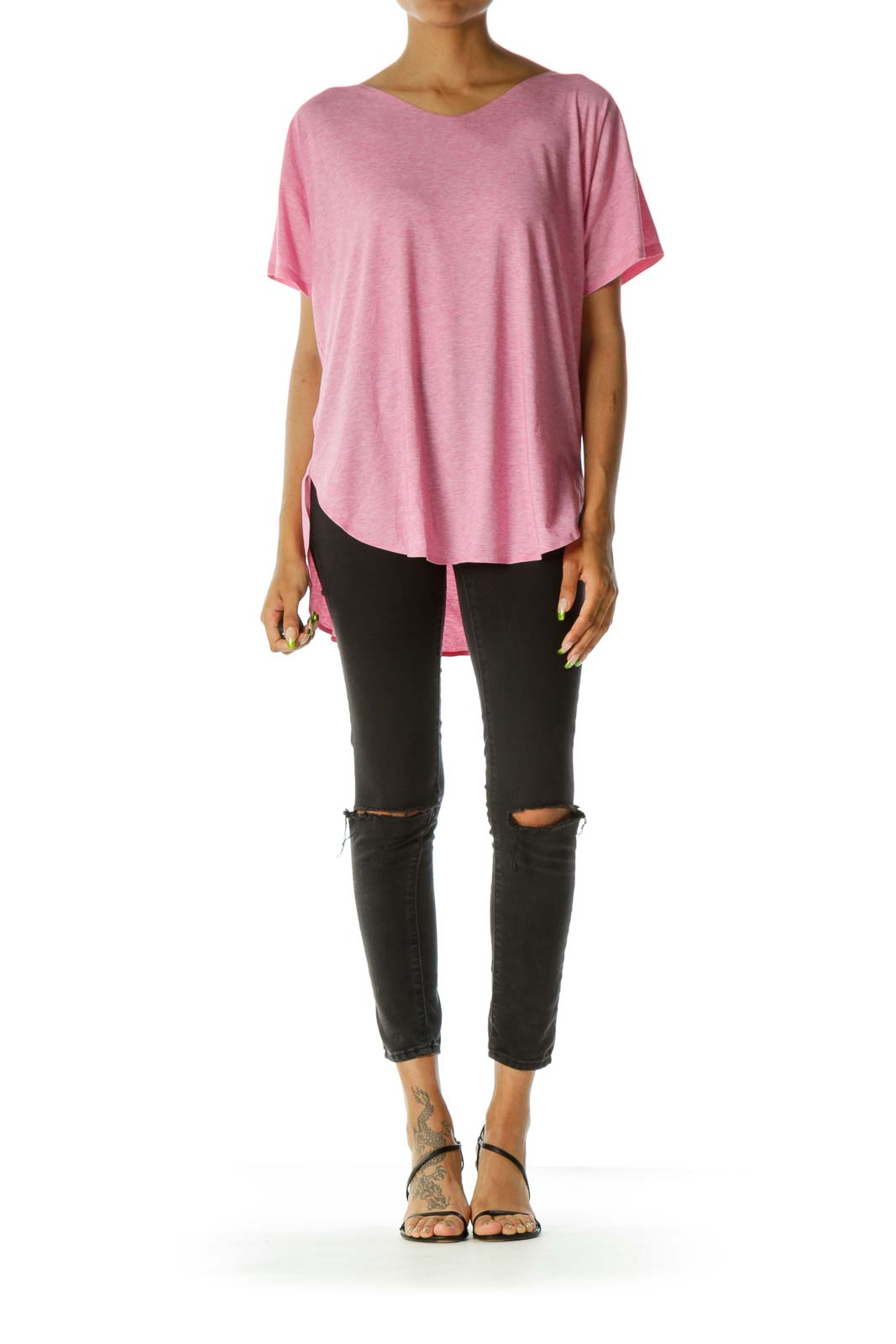 Pink Short Sleeve Round Neck Top