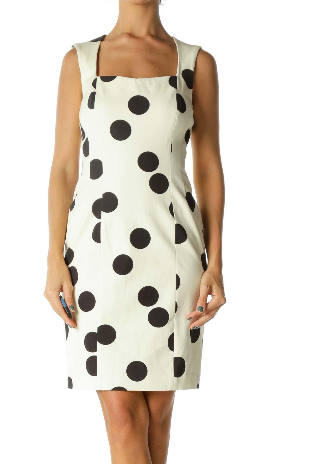 Black & Cream Polka Dot Slim Dress