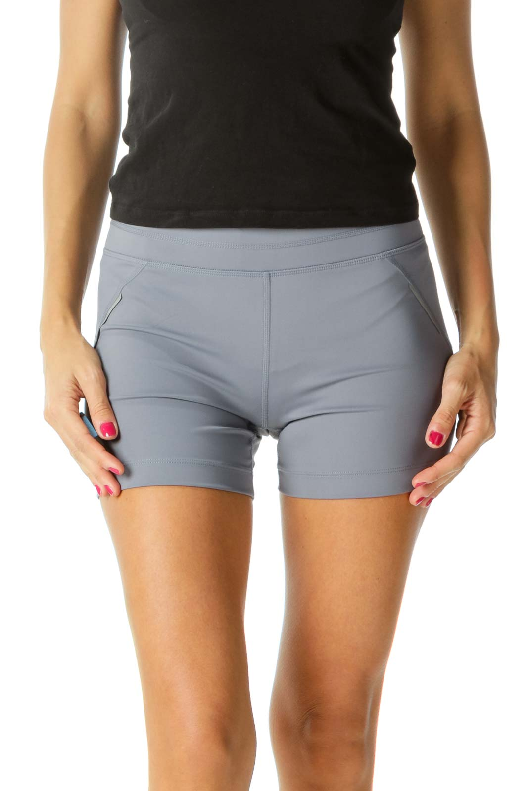 Gray Stretch Reflective Trim Detail Active Shorts