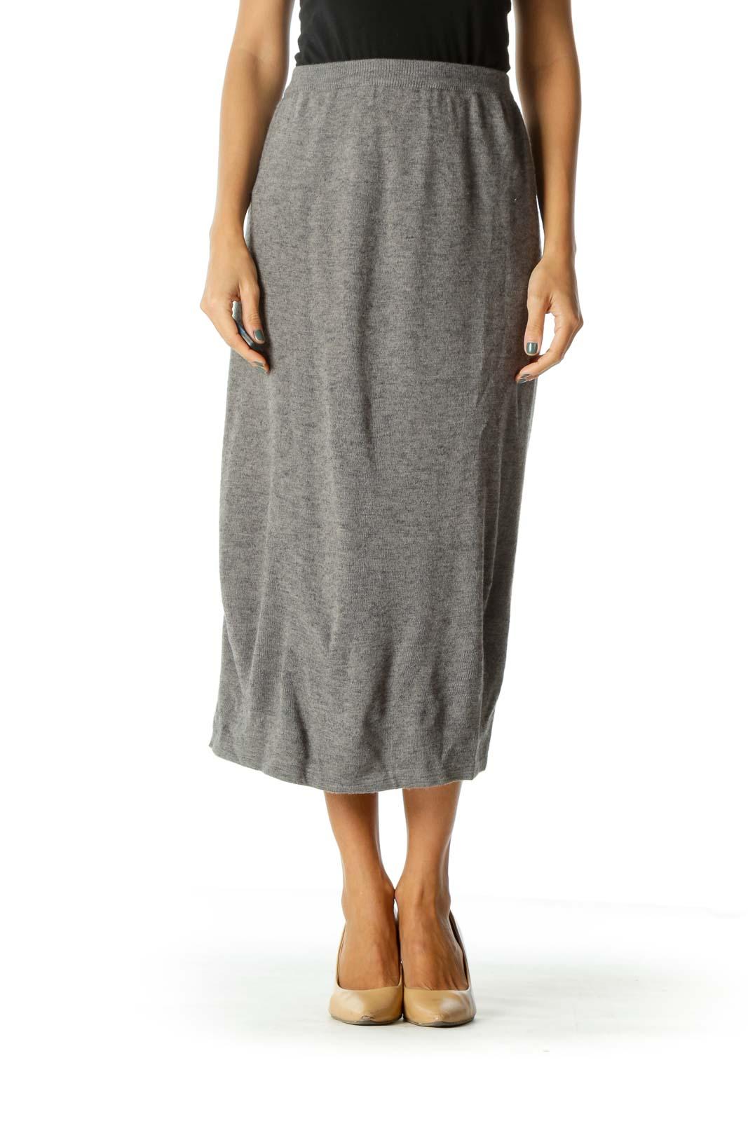 Gray Knit Elastic Band Midi Skirt