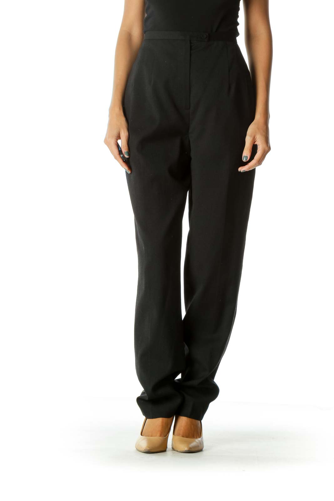 Black Wool Blend Cinched Waist One-Button Pleated Pocketed Pants