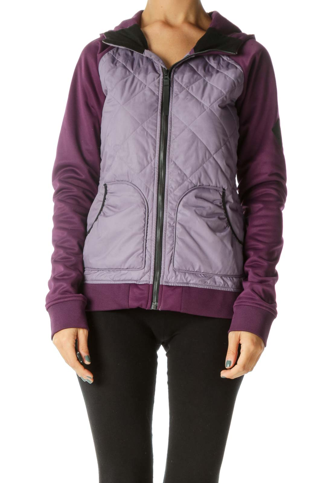Two-Tone Purple Quilted Stretch Hooded Elastic Pockets Active Jacker