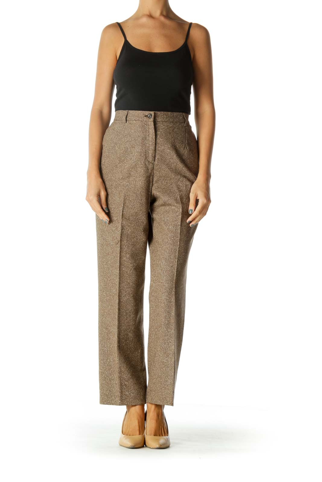 Brown Beige White Wool Silk Blend Textured Pocketed Pants