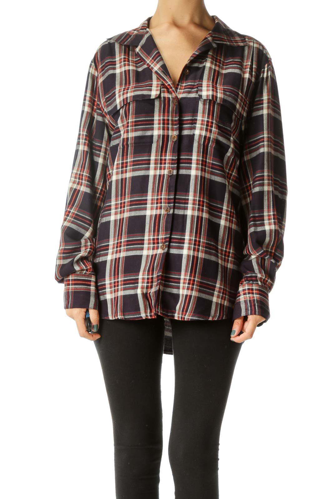 Navy Blue Red Cream Plaid Buttoned Shirt