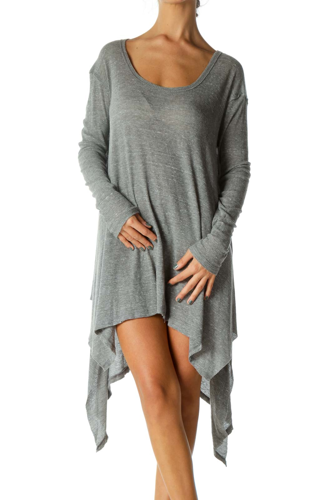 Gray Round Neck Waffle-Knit Long Sleeve Flared Top