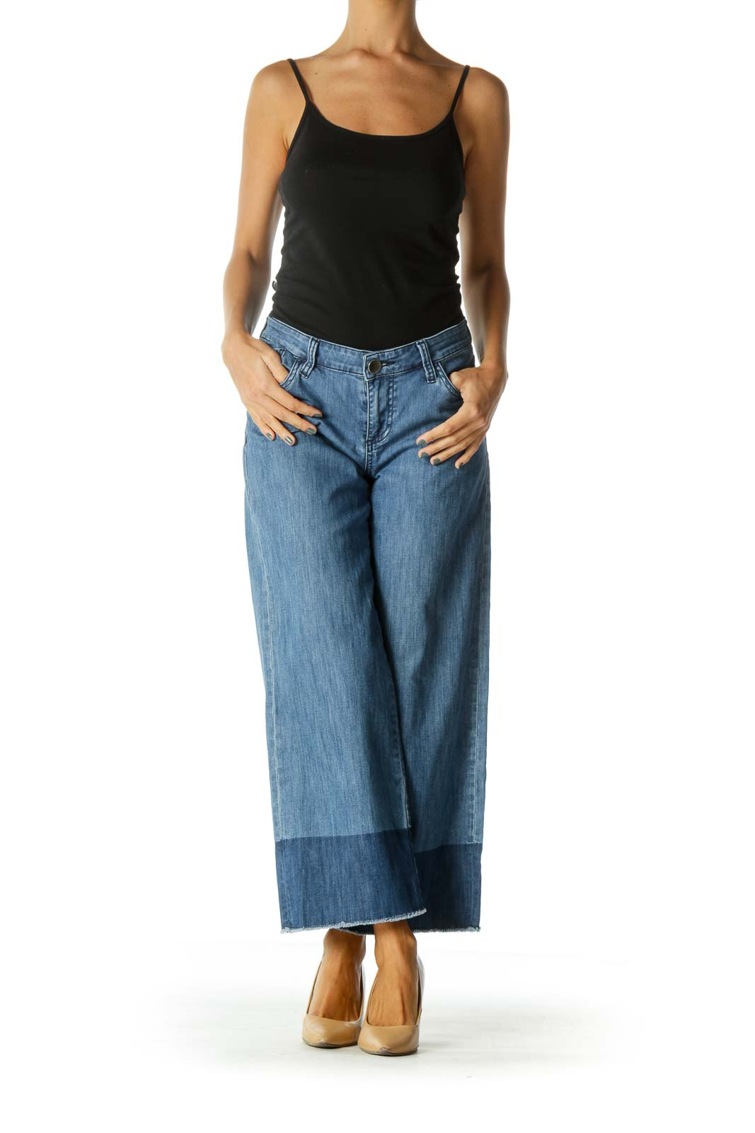 Blue Raw Hem Color Block Wide Leg Stretch Cropped Denim Pants