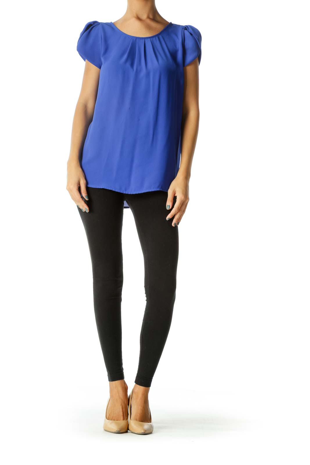 Royal Blue Round Neck Pleated Detail Cap Sleeves Top