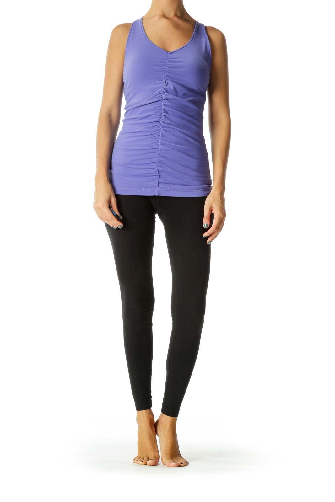 Purple V-Neck Scrunched Detail Sports Tank Top with Built-In Support Bra