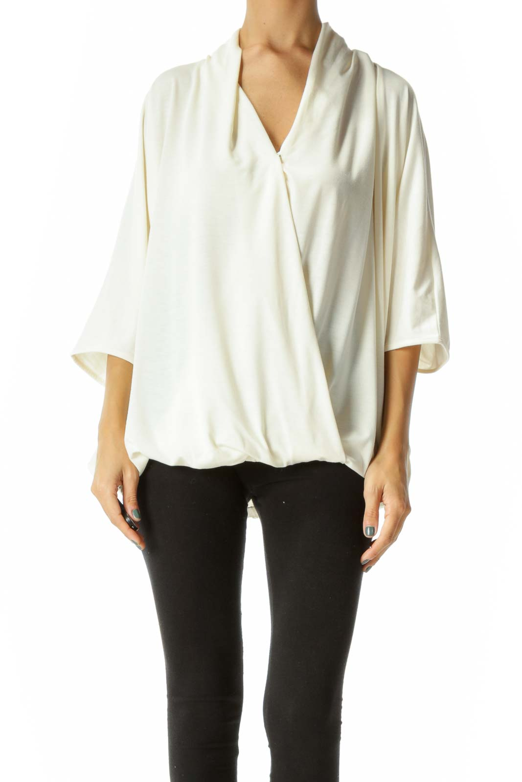 Cream V-Neck Snap Button Closure Bat Sleeves Elastic Waist Blouse