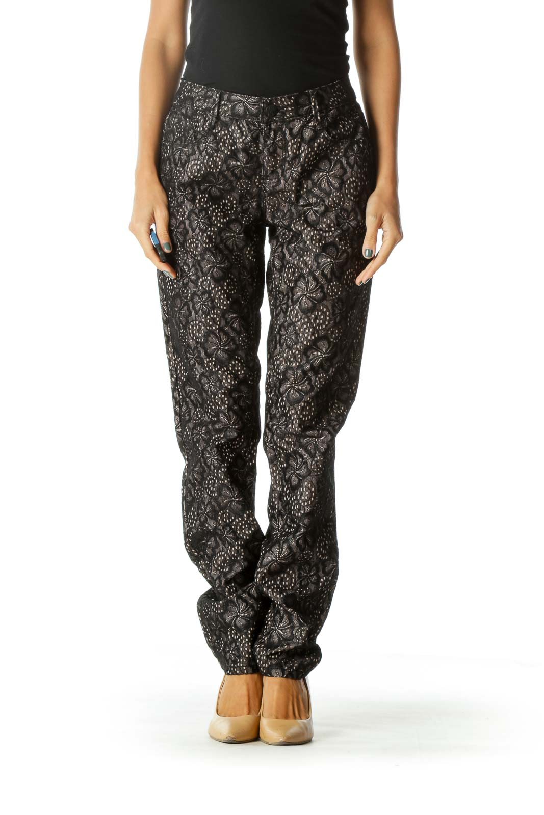 Black Beige Lining Floral Lace Knit Textured Pants