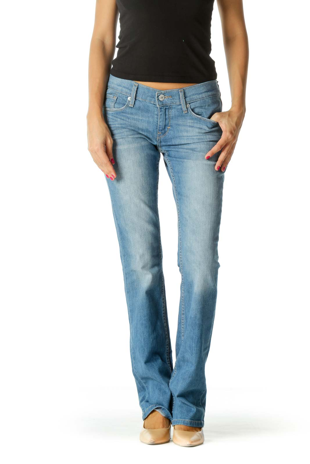 Blue Light-Wash Bootcut Denim Jeans