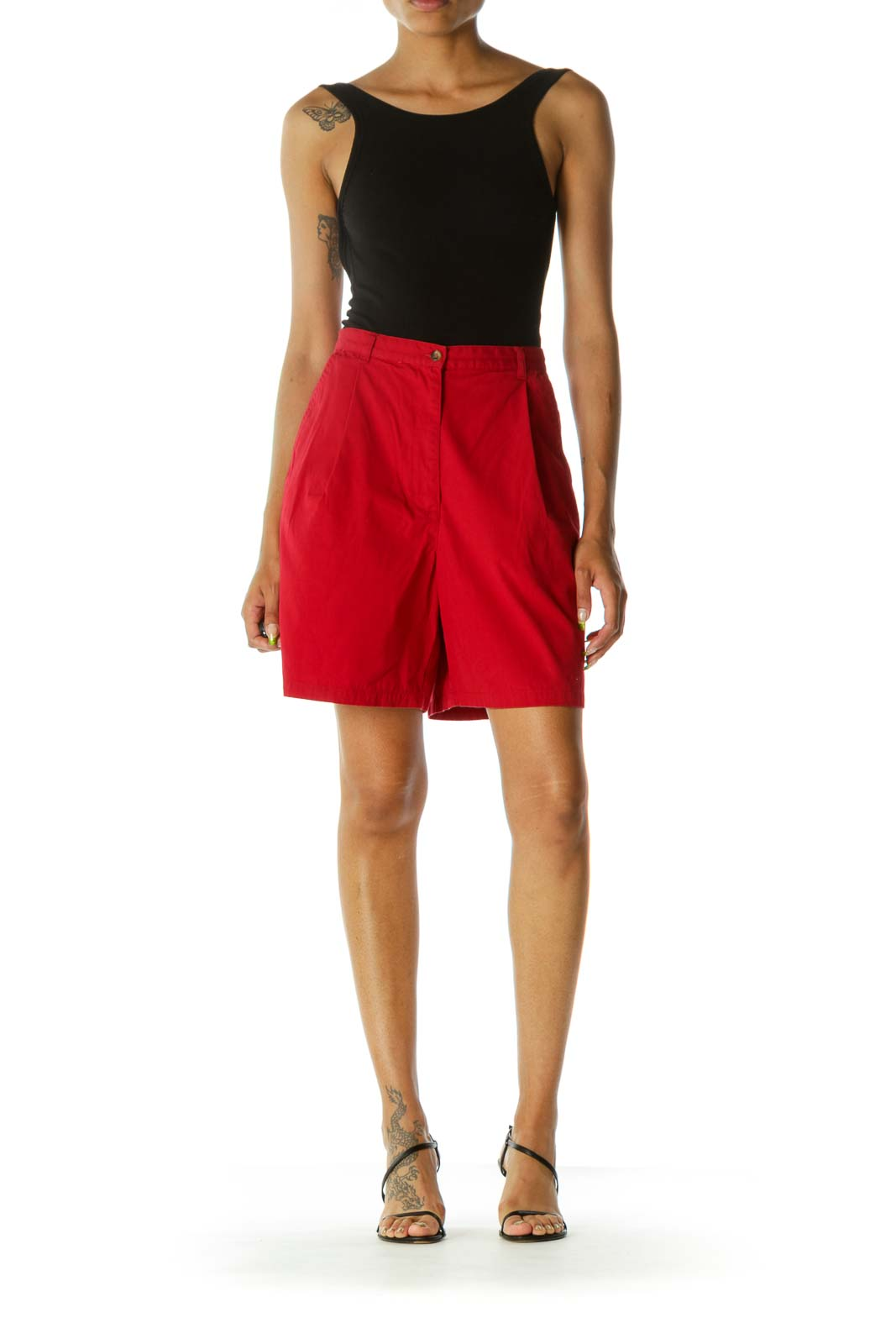 Red 100% Cotton Pleated High-Waist Shorts