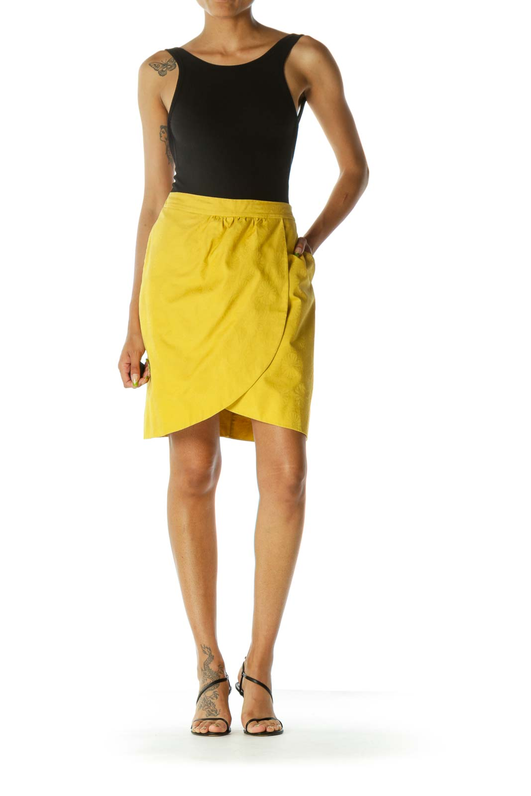 Yellow Jacquard Floral Pattern Zippered Skirt