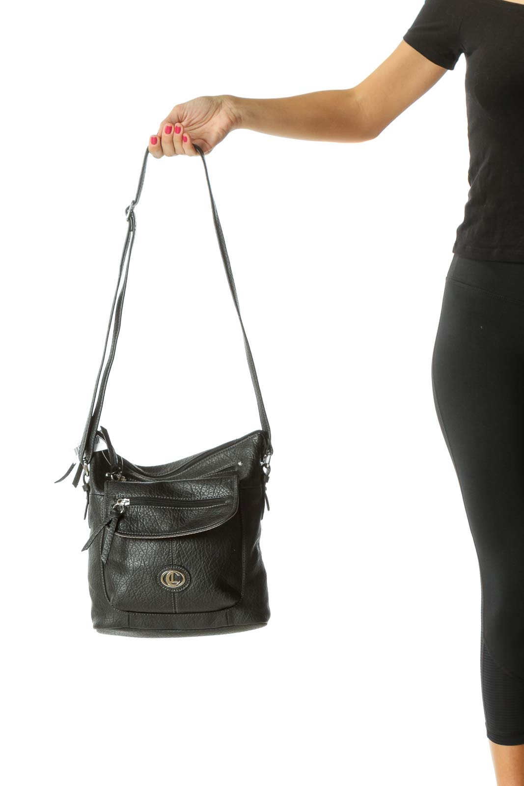 Black Faux-Textured-Leather Pocketed Crossbody Bag