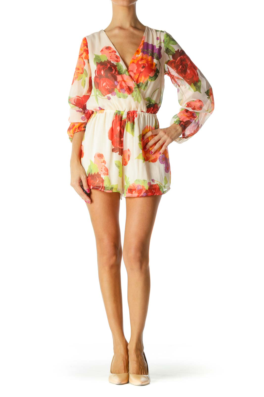 Orange Green Purple Floral Print Surplice Long Sleeve Romper
