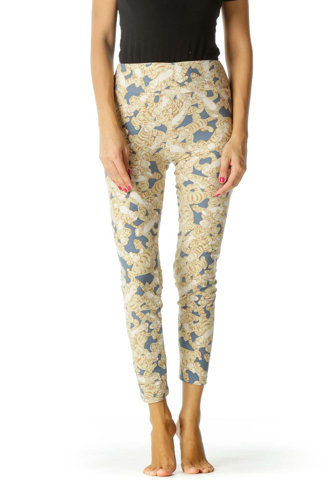 Beige Blue Movie Character Print Leggings