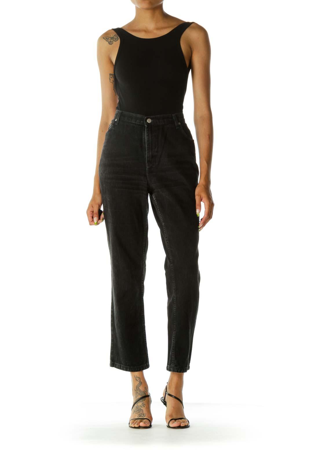 Black Washed 100% Cotton Tapered Denim Jeans