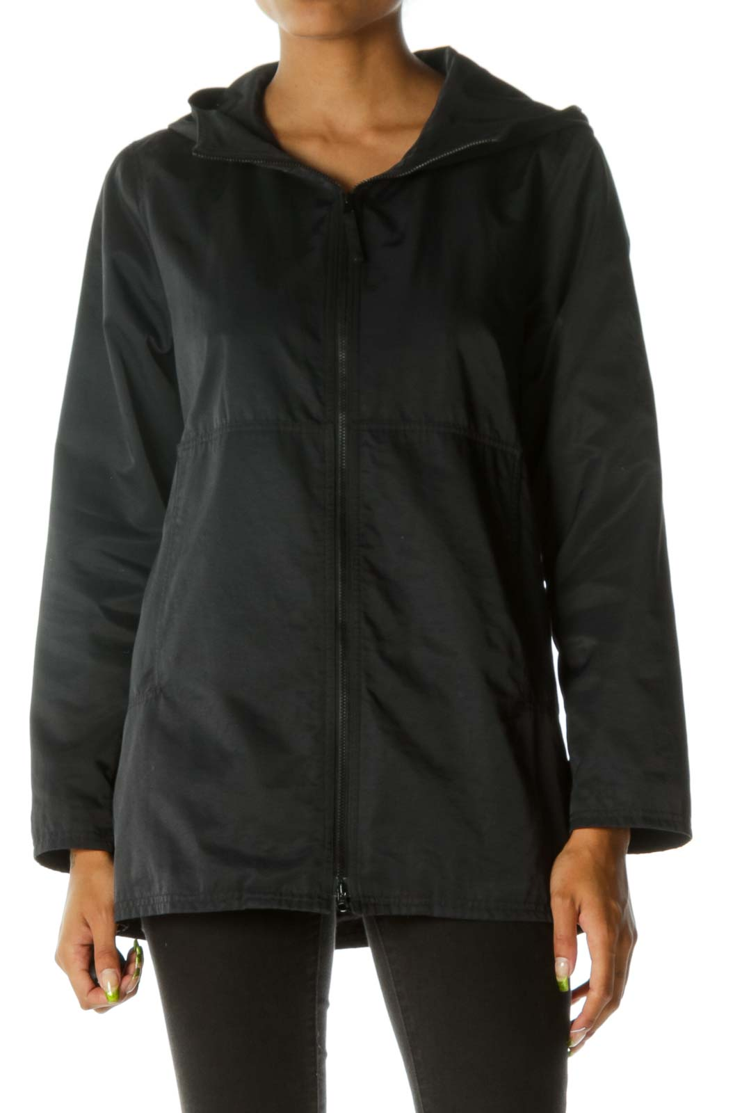 Black Hooded Zipped Sport Jacket