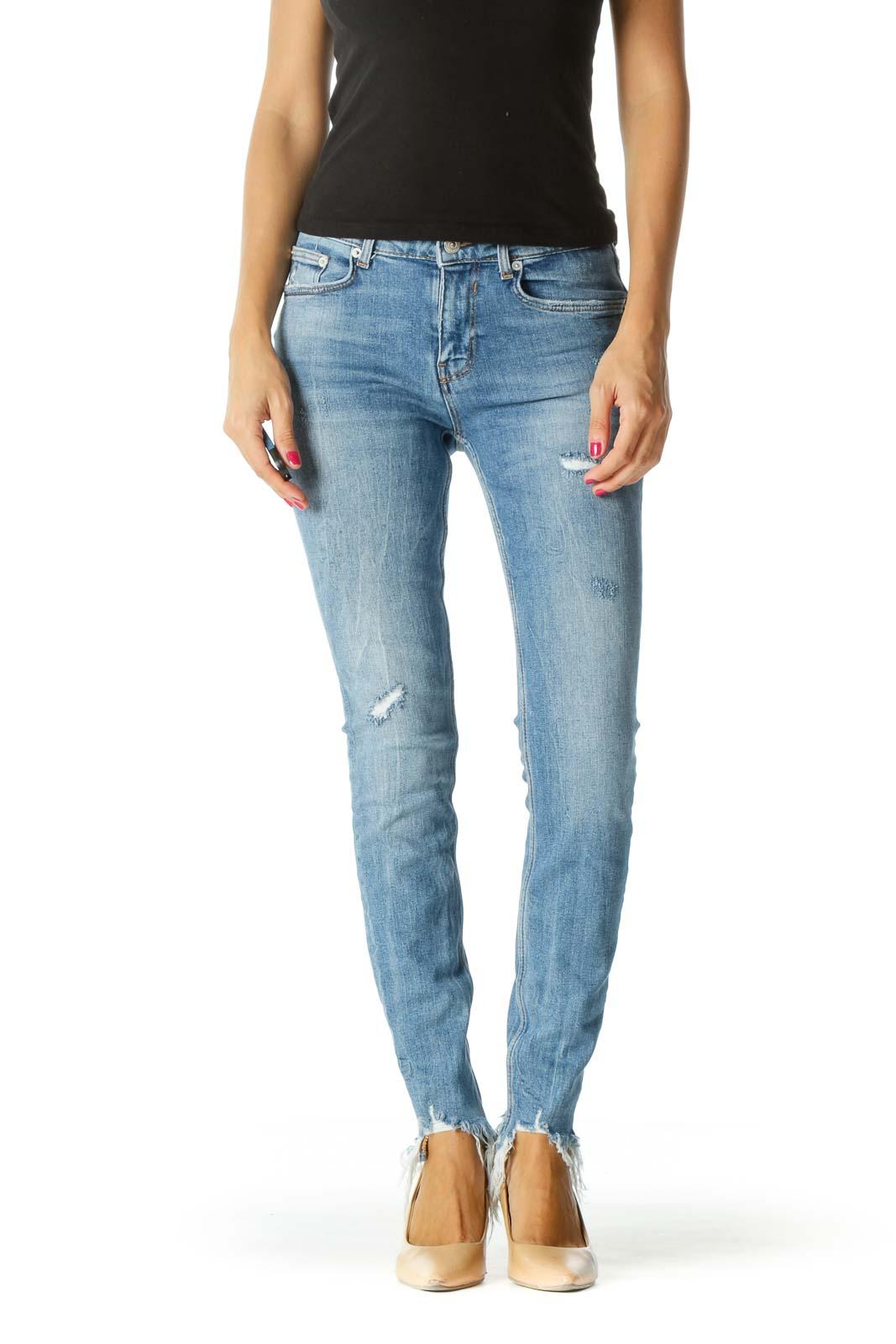 Blue Frayed Skinny Jeans