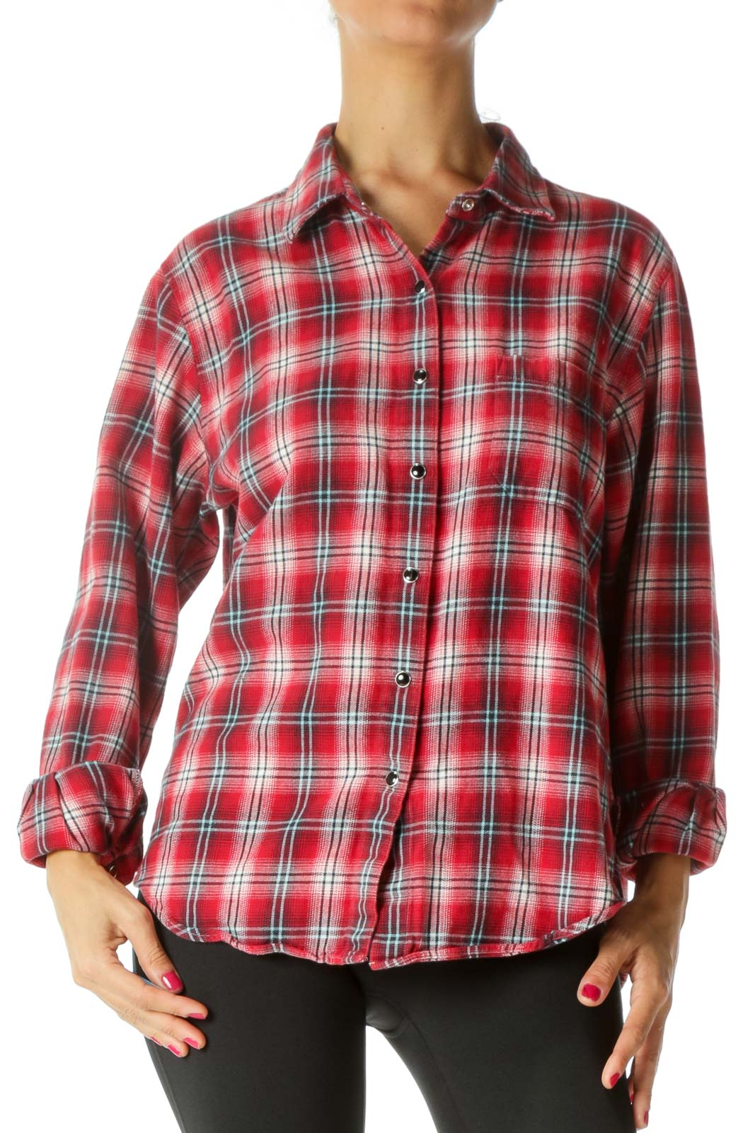 Red Blue White 100% Cotton Buttoned Textured Shirt