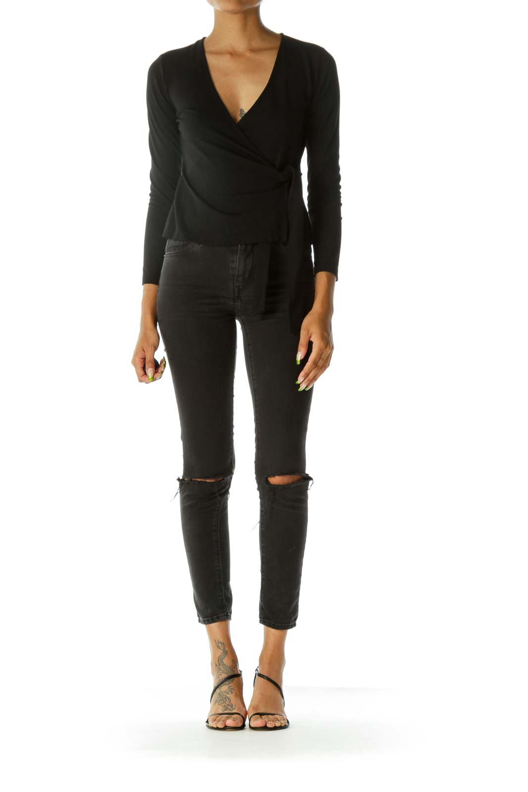 Black V-Neck Wrap Long Sleeve Stretch Top