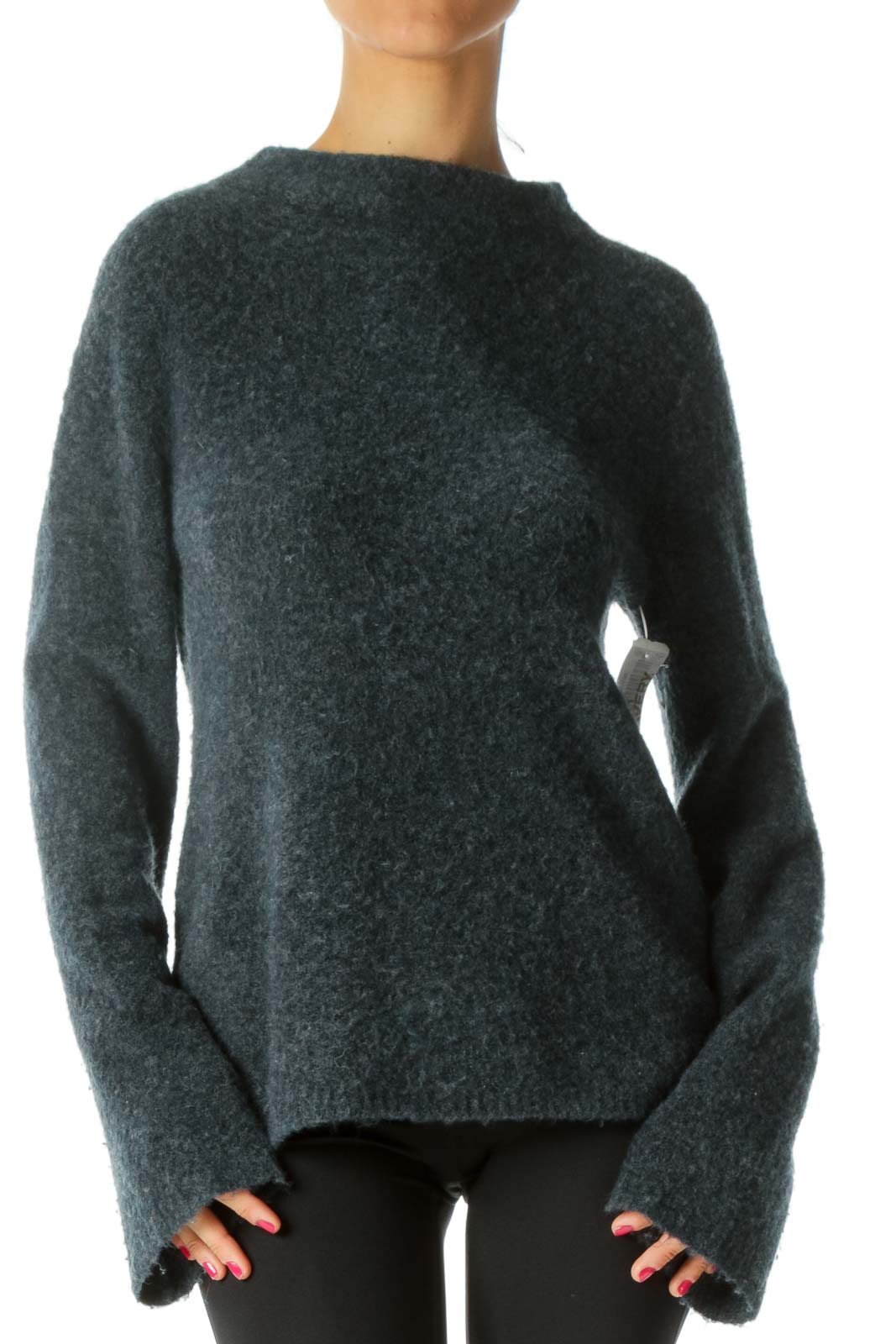 Navy Mock-Neck Sweater