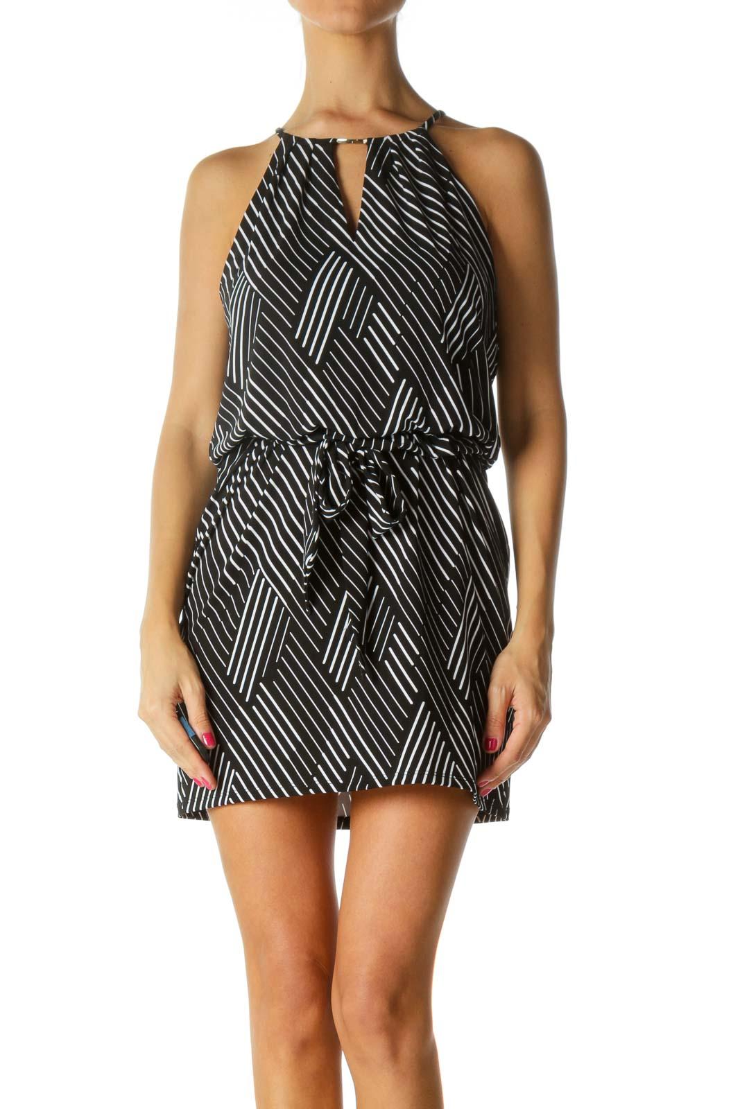 Black White Stripes Gold Keyhole Hardware Stretch Belted Dress