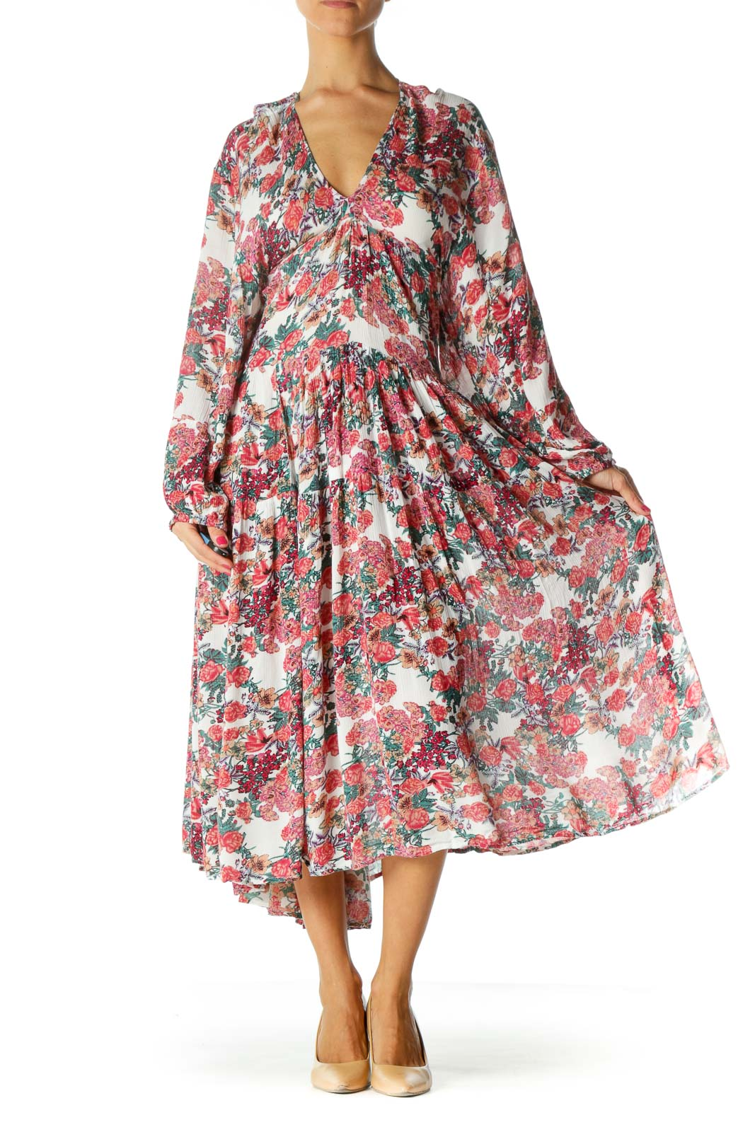 Red Floral Relax Ruffled Dress