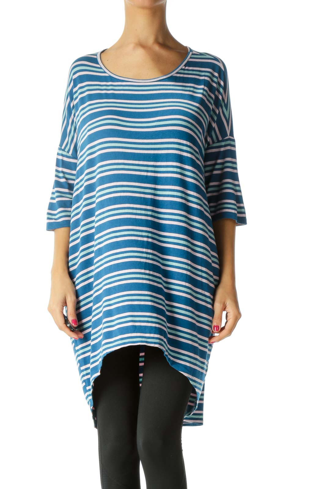 Blue Green Pink Striped Stretch Oversized T-Shirt