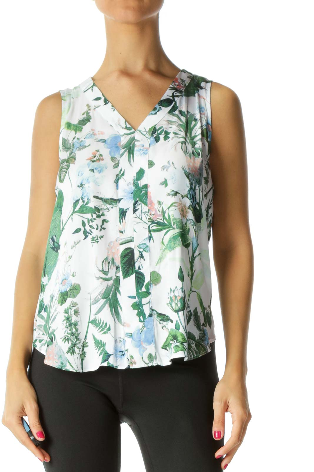 White&Green Floral Print Sleeveless Blouse