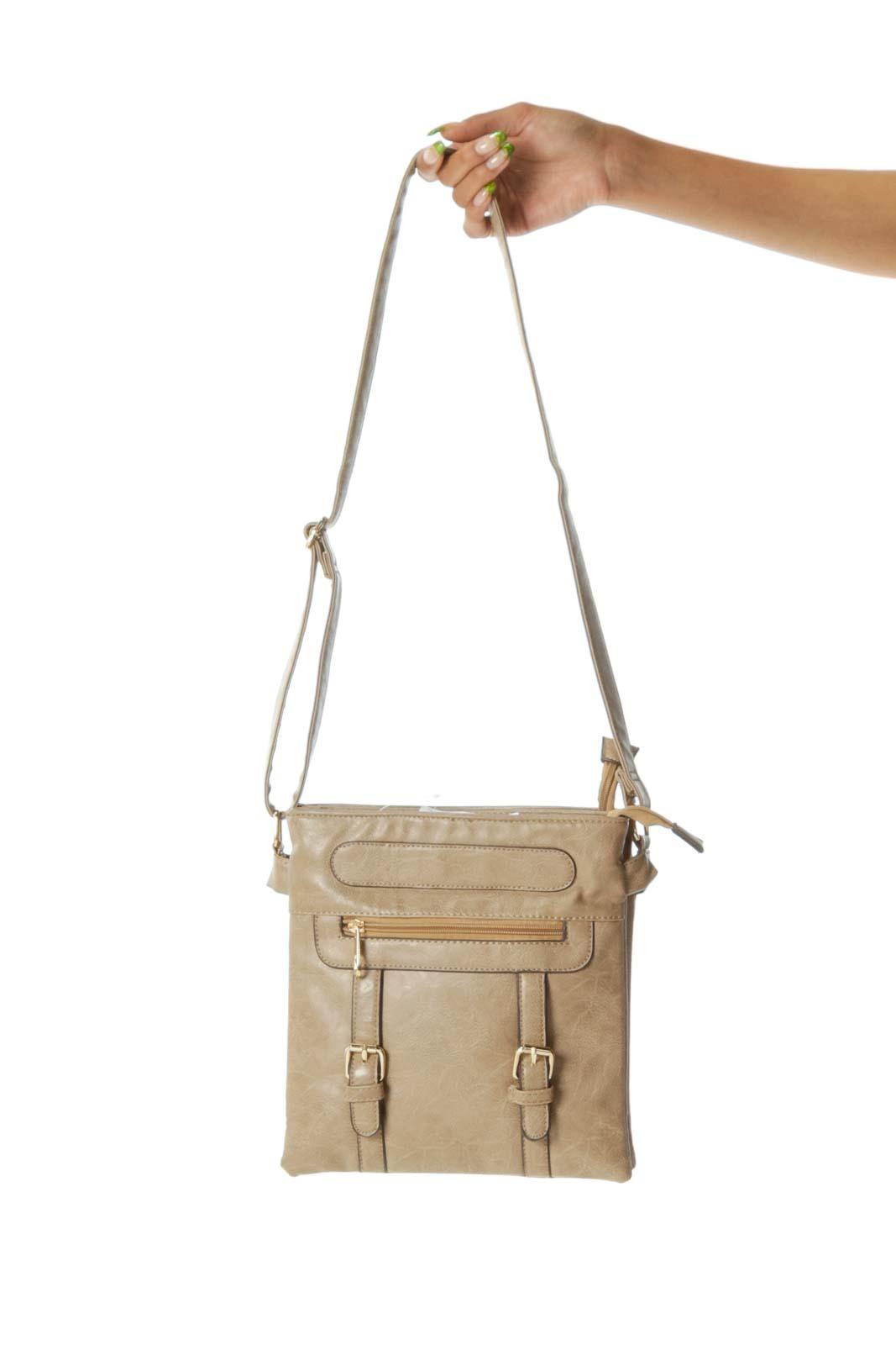Beige Multi-Pockets Gold-Hardware Crossbody Bag