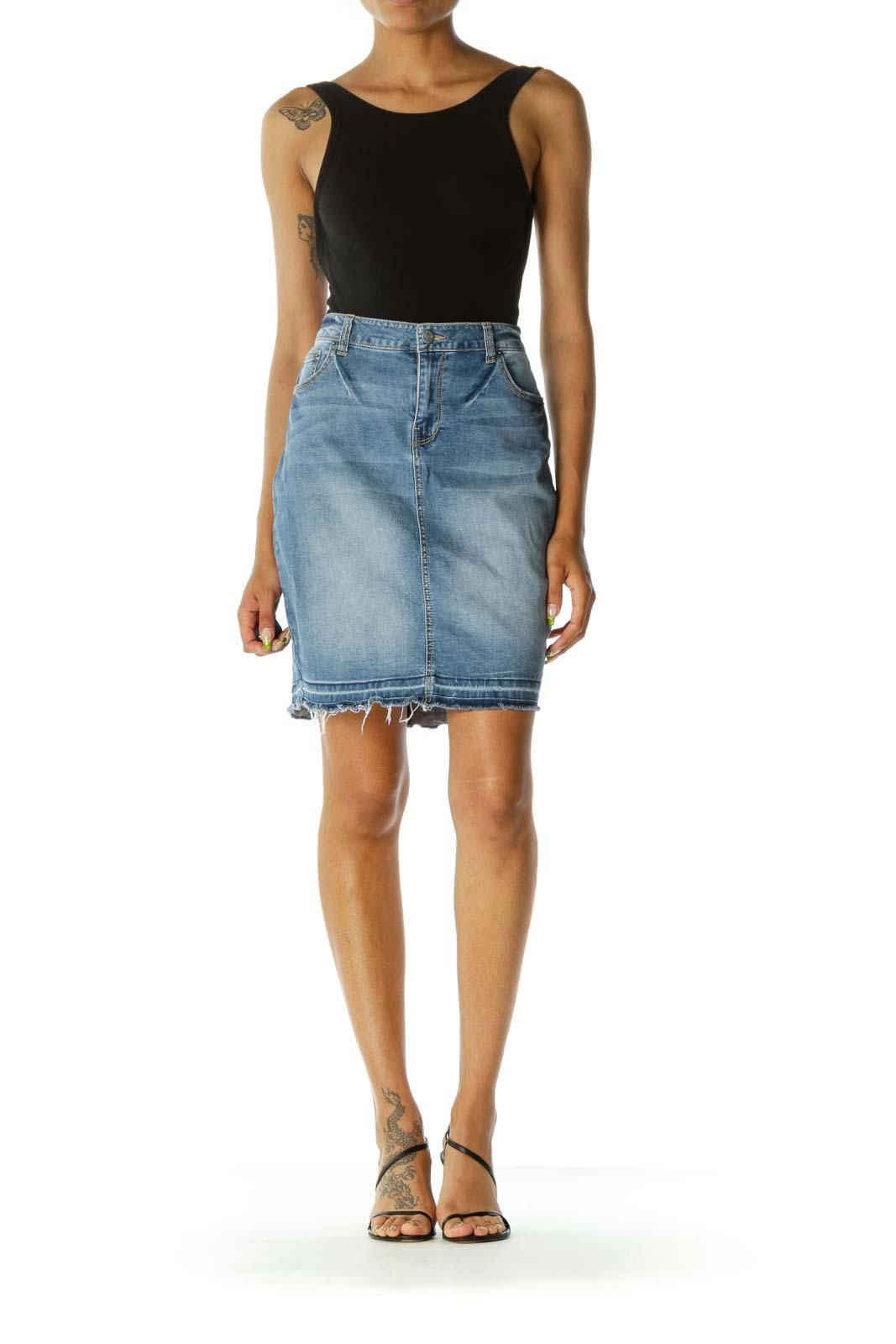 Blue Medium Wash Raw Hem Pencil Denim Skirt