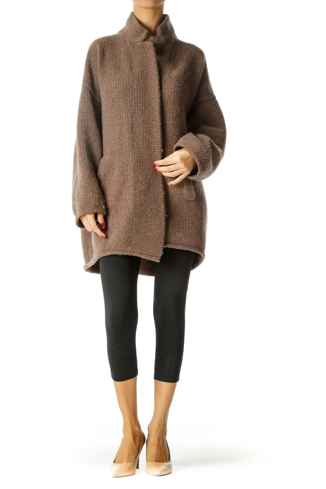 Brown Merino Wool Textured Cardigan