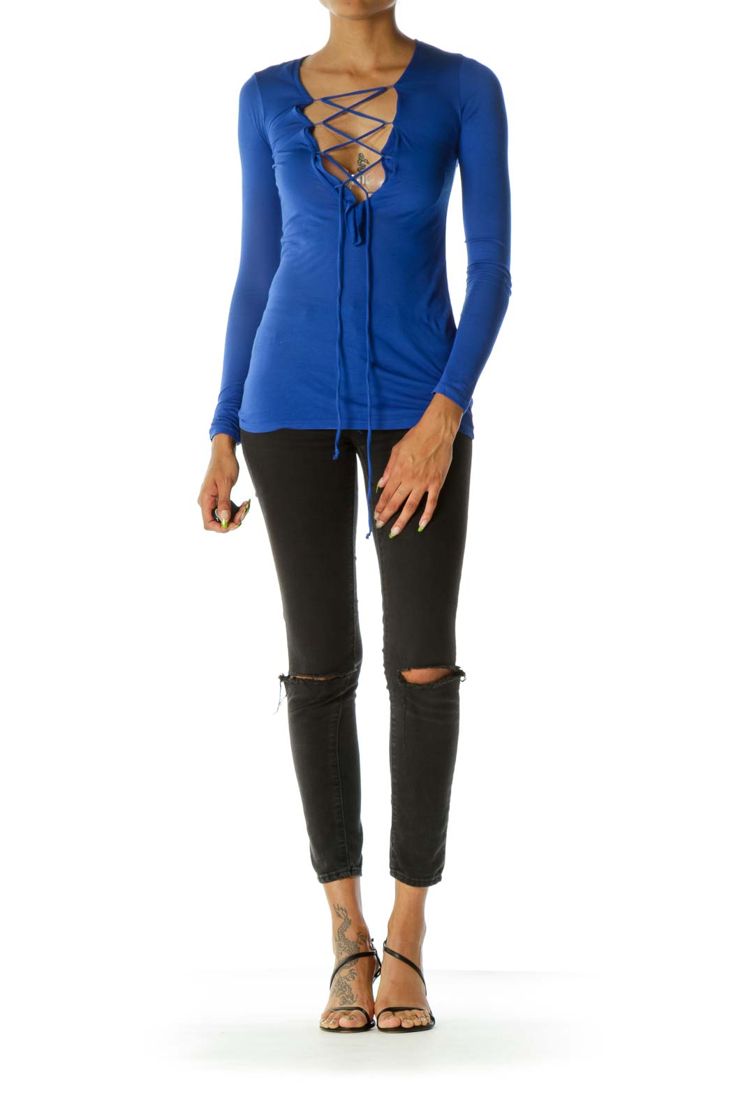 Blue Front Drawstring Long Sleeve Tshirt