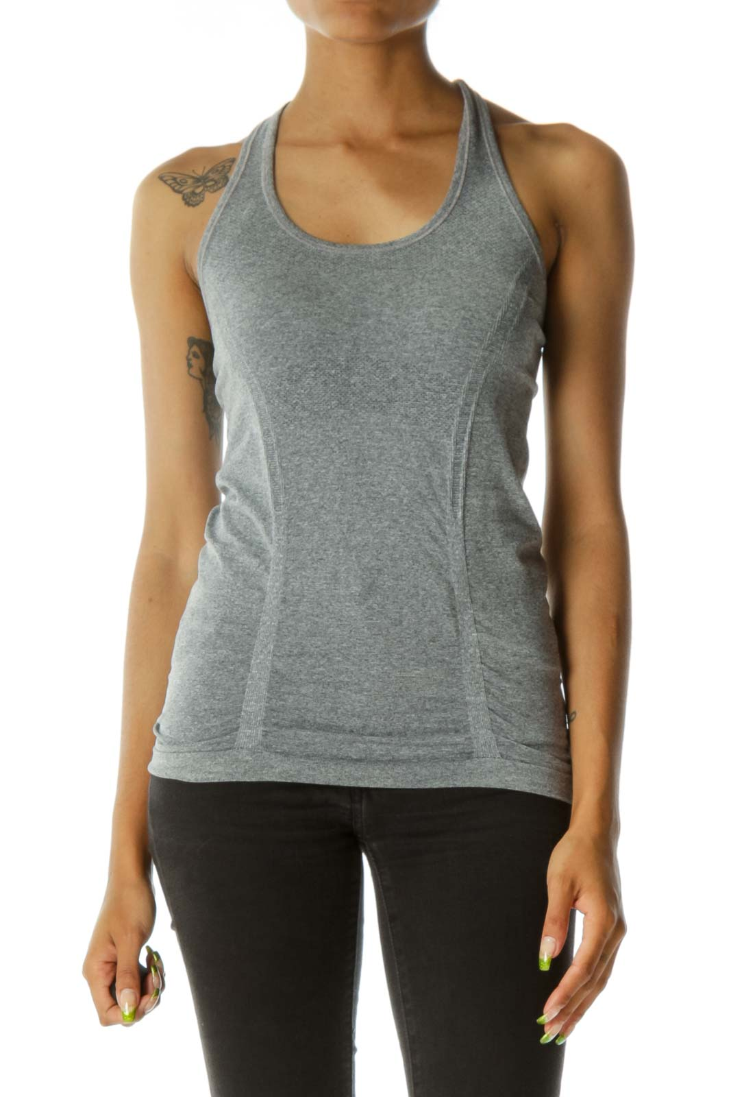 Gray Scrunched Racerback Stretch Active Tank Top
