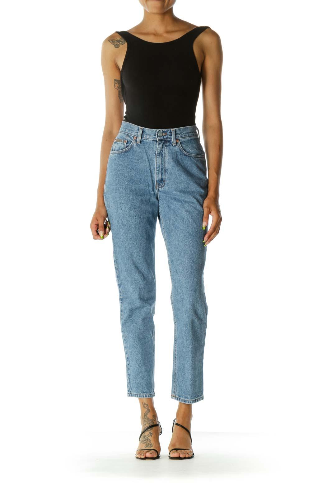 Blue Light Wash 100% Cotton High-Waist Denim Jeans