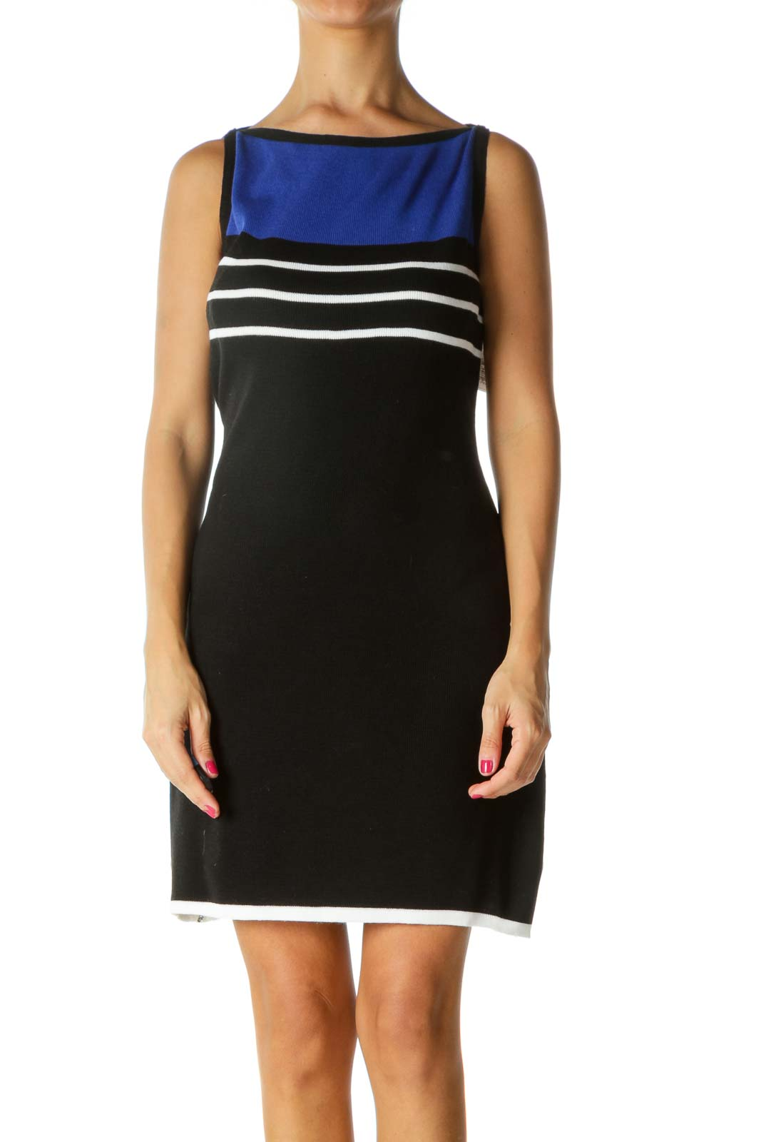 Blue Black White Boat Neck Striped Knit Dress