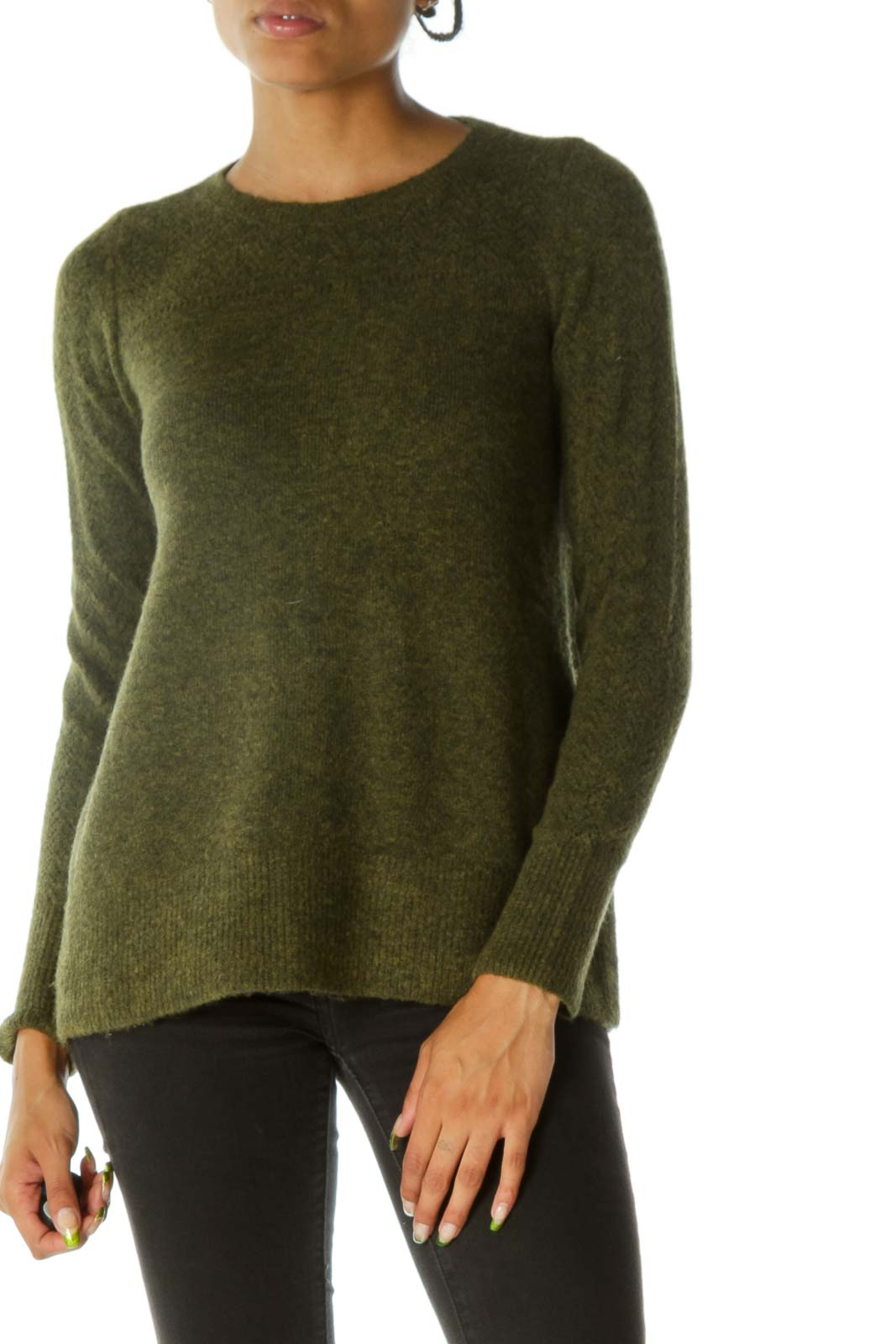 Olive Green Front Detail Sweater