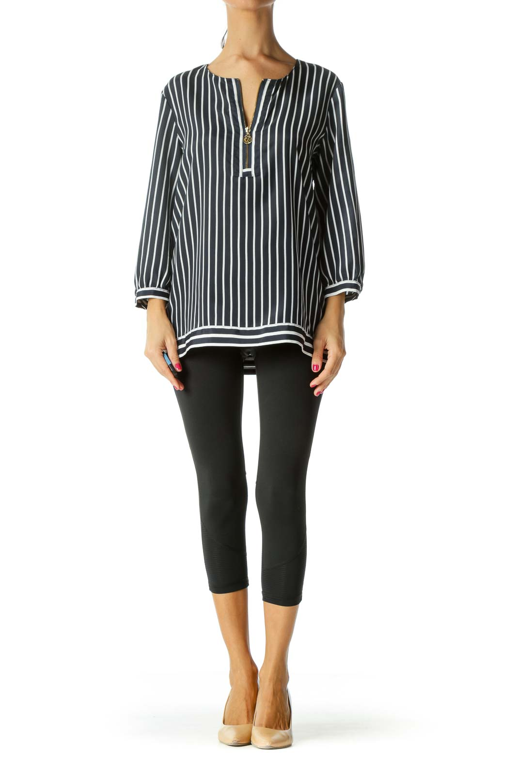 Navy Visible Front Zip Striped Blouse