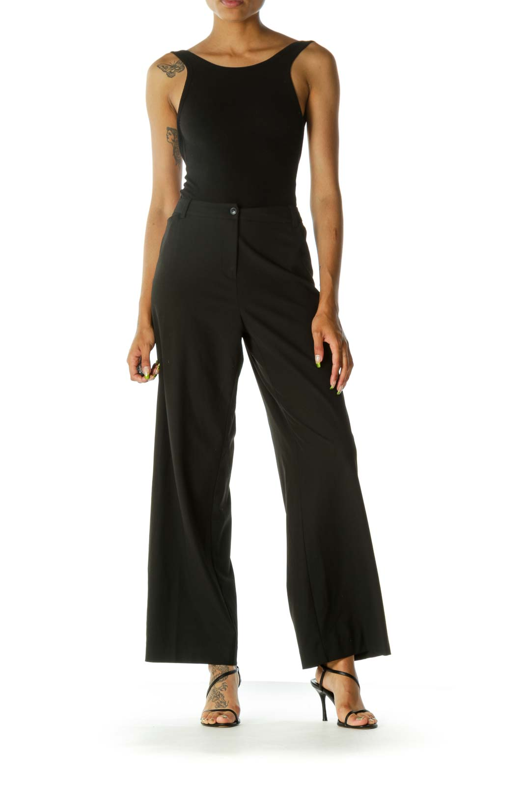 Black Stretch Thin Wide-Leg Front Pockets Slacks