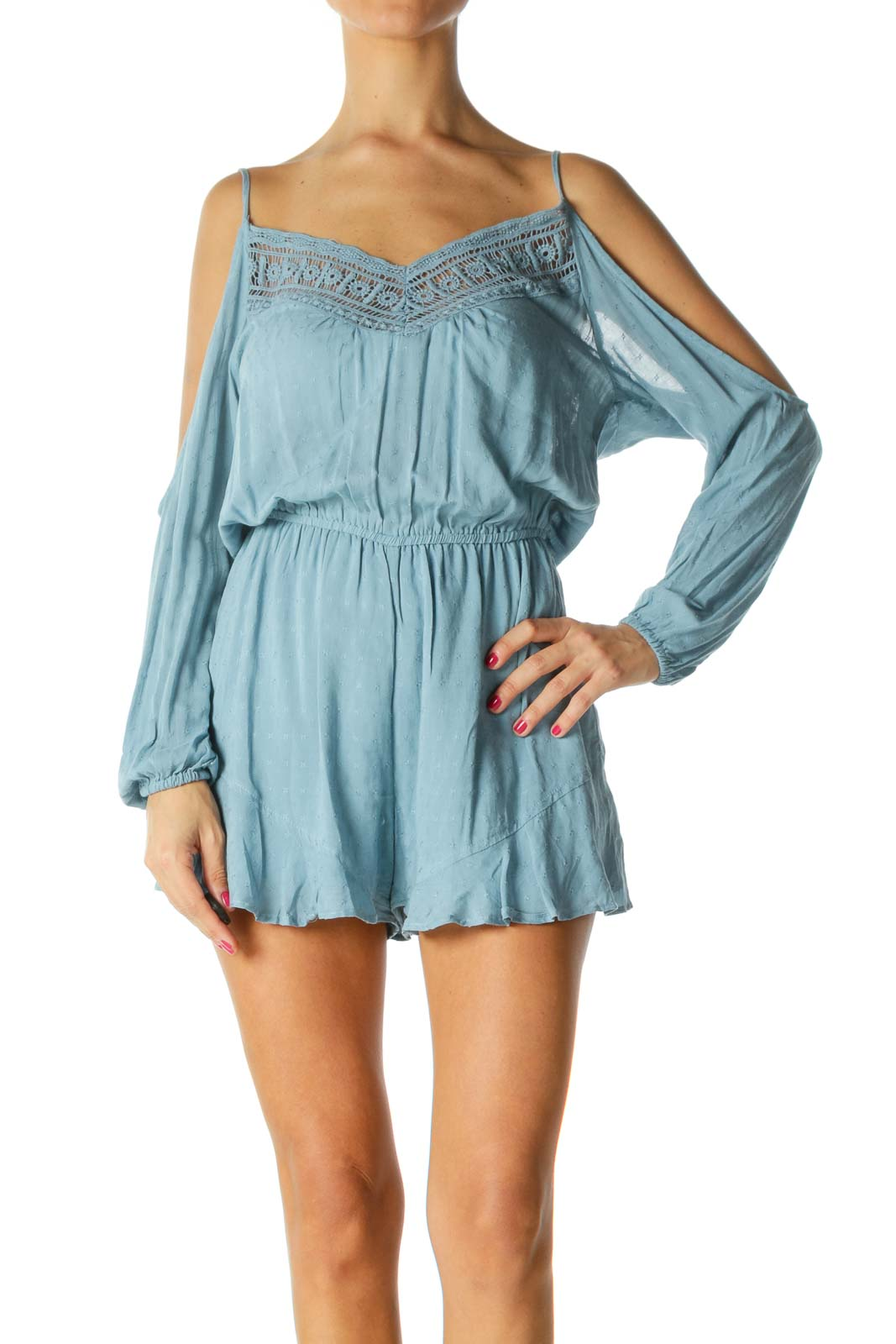 Blue V-Neck Crocheted Cold-Shoulder Knit Romper